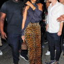 Rihanna wears leopard print pants when going to dinner then clubbing in New York