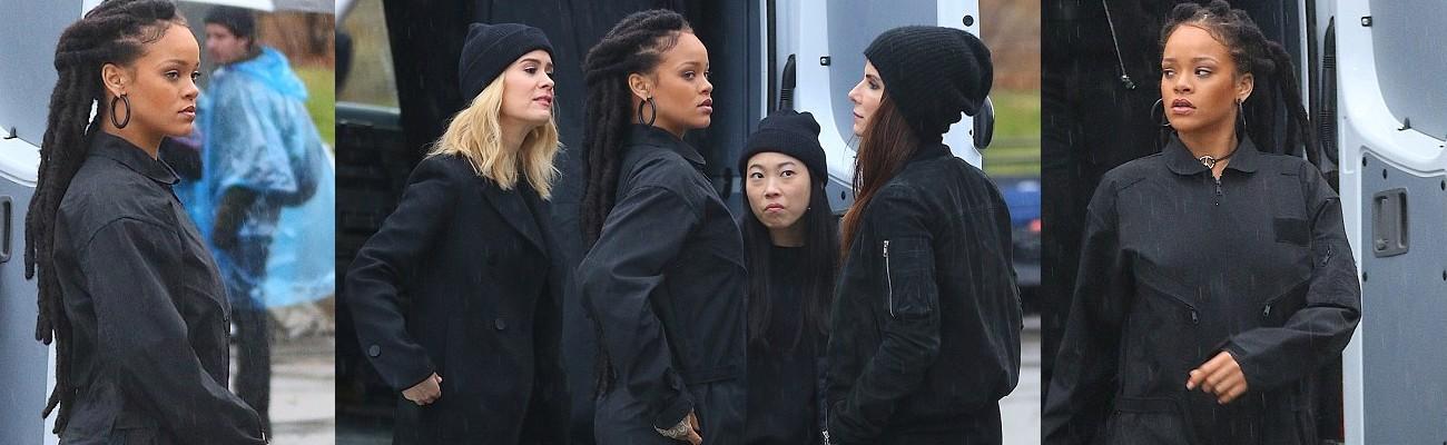 Rihanna films Ocean's Eight with Sandra Bullock and Sarah Paulson