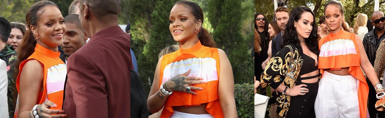 Rihanna attends Roc Nation's Pre-Grammy brunch