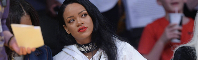 Rihanna attends a basketball game in Los Angeles