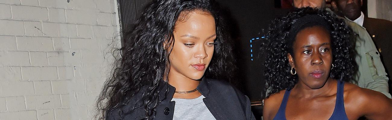Rihanna rocks a Hillary Clinton T-Shirt at a recording studio in New York
