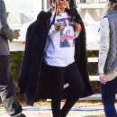 Rihanna shows her support for Hillary Clinton on November 8, 2016 wearing T-shirt with Hillary Clinton