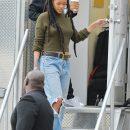 Rihanna on the set of Ocean's Eight on November 10, 2016 wearing Puma Fur Slides