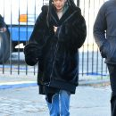 Rihanna on the set of Ocean's Eight in New York on November 23, 2016 Faux Fur Coat