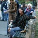 Rihanna, Cate Blanchett and Sandra Bullock on set of Ocean's Eight in New York on November 7, 2016 sitting on a bench