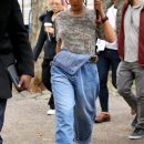 Rihanna steps out on the set of Ocean's Eight on November 9, 2016 hair tied up
