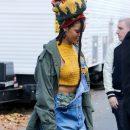 Rihanna photographed on the set of Ocean's Eight on November 4, 2016 rastafari hat