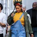 Rihanna photographed on the set of Ocean's Eight on November 4, 2016 yellow crop top