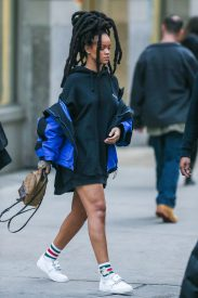 Rihanna heads to Ocean's Eight set on January 12, 2017 Louis Vuitton Bag
