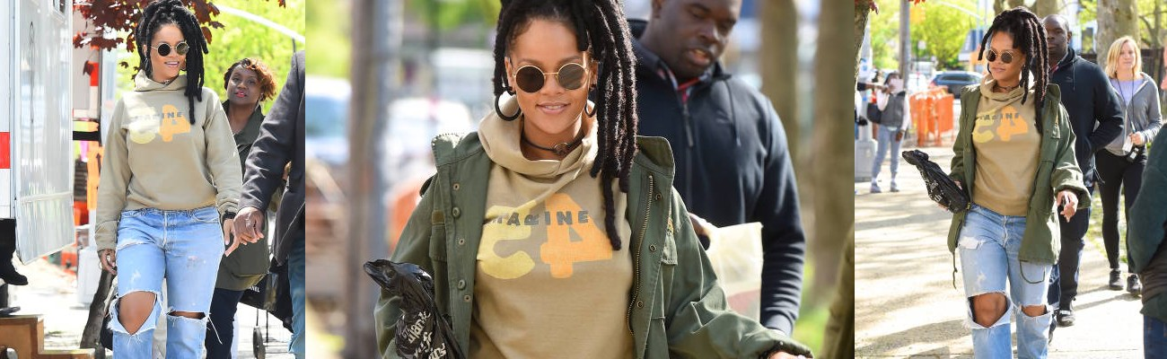 More photos of Rihanna on the set of Ocean's Eight