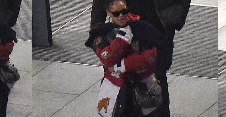 Rihanna spotted arriving in London December 11, 2017