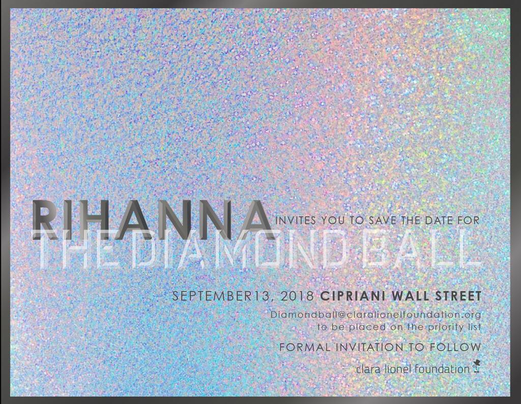 Rihanna - Diamond Ball 2018 invitation