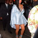 Rihanna arrives at Clara Lionel Foundation benefit on June 6, 2018 blue dress