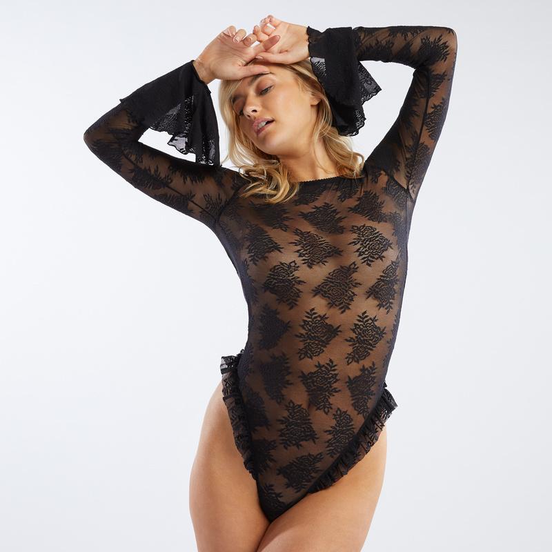 Rihanna Savage x Fenty Floral Stretch Lace Bodysuit Front