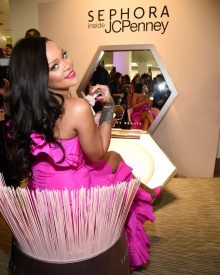 Rihanna at Fenty Beauty's anniversary party on September 14, 2018 sitting at the Kabuki Brush chair