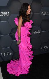 Rihanna at Fenty Beauty's anniversary party on September 14, 2018 with long black hair