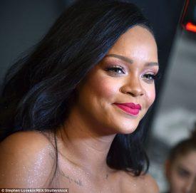 Rihanna at Fenty Beauty's anniversary party on September 14, 2018 face close-up