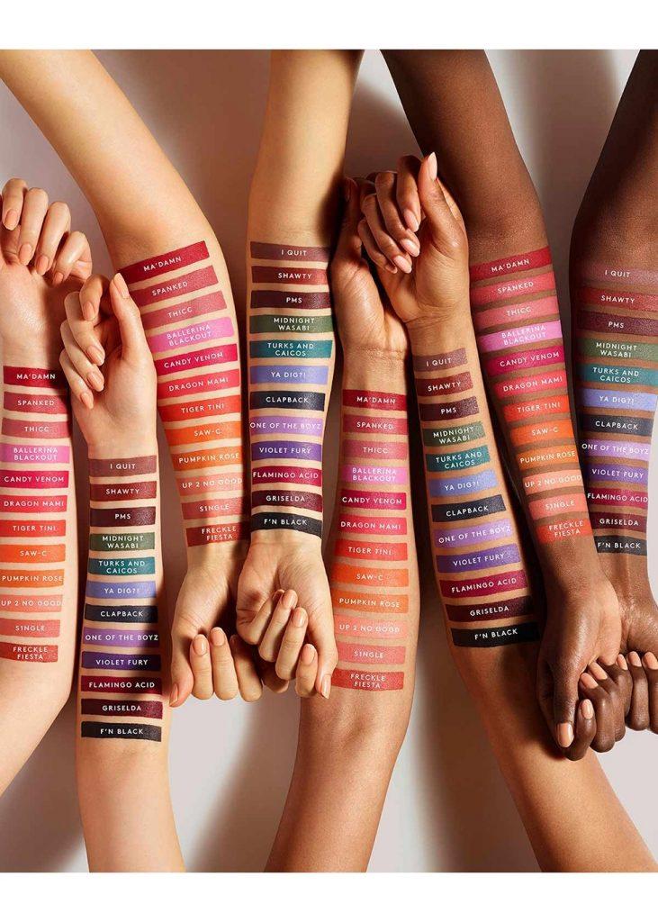 Fenty Beauty Mattemoiselle Lipsticks All Shades on skin