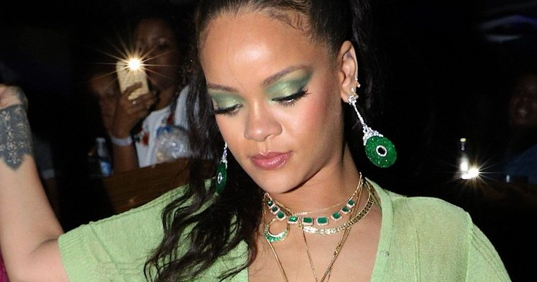 Rihanna stuns in green as she parties in Barbados