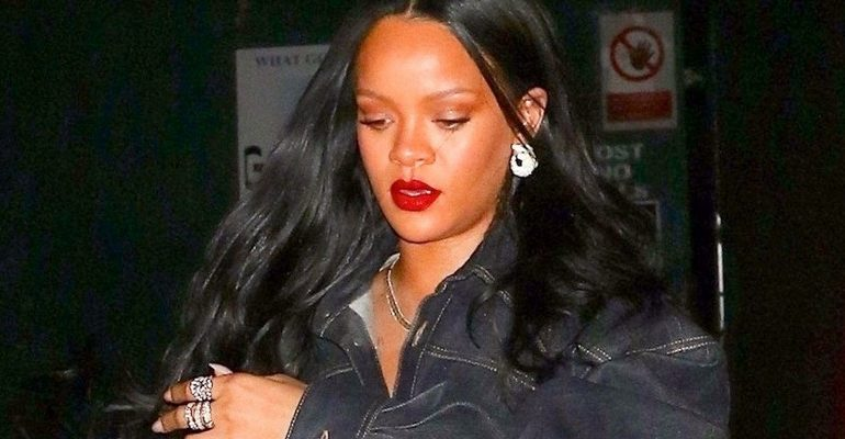 Rihanna rocks double denim for dinner in NYC