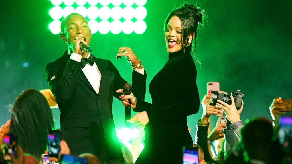 Rihanna performs with Pharrell Williams at 2019 Diamond Ball