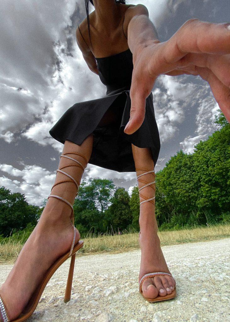 Rihanna release 7-20 Amina Muaddi for FENTY Braid Me Up Sandals